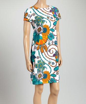 Orange & Teal Floral Key West Crewneck Dress