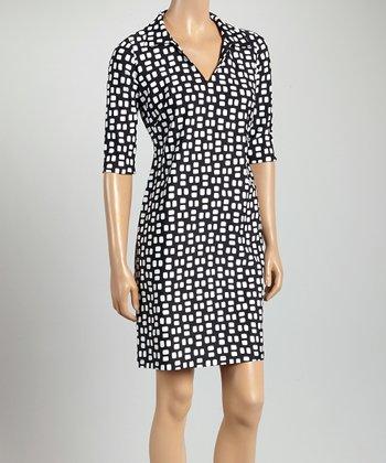 Black & White Square Nola V-Neck Dress