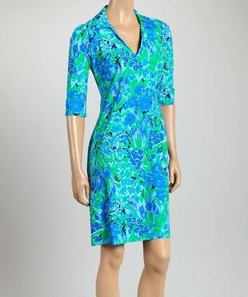 Blue & Green Floral Nola V-Neck Dress
