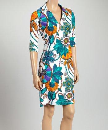 Blue & Orange Flower Nola V-Neck Dress