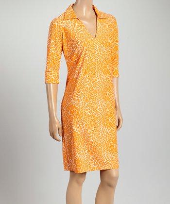 Tangerine & White Nola V-Neck Dress