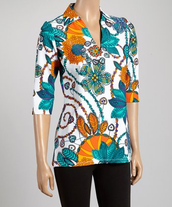 Orange & Teal Floral Nola V-Neck Tunic