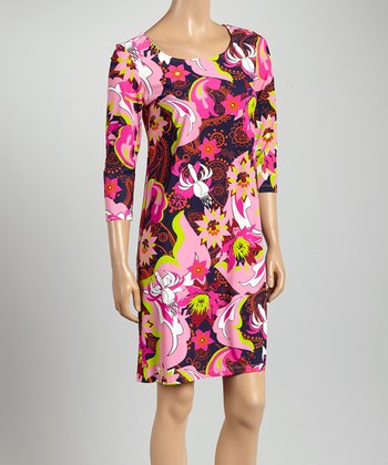 Pink & Green Flower Power St. Simon Dress