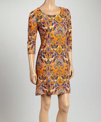 Orange & Purple Vibrant Paisley St. Simon Dress