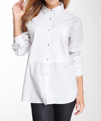 White Tuxedo Long-Sleeve Button-Up