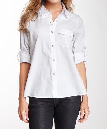 White Pocket Long-Sleeve Button-Up