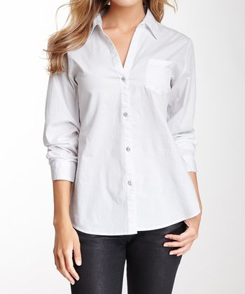 White Rhinestone V-Neck Button-Up