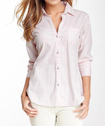 Pink Rhinestone V-Neck Button-Up