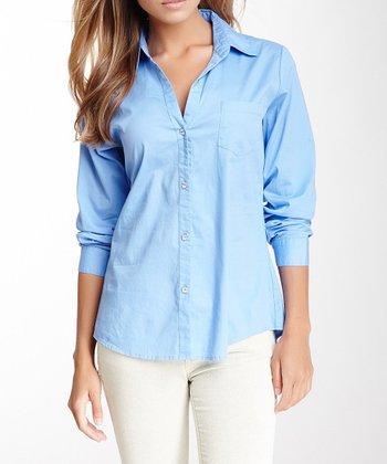Blue Rhinestone V-Neck Button-Up