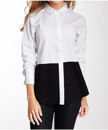 Black & White Long-Sleeve Button-Up