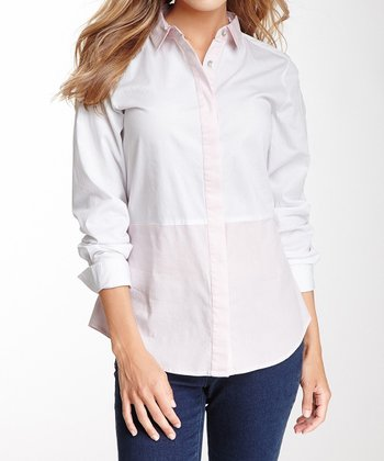 Pink & White Long-Sleeve Button-Up