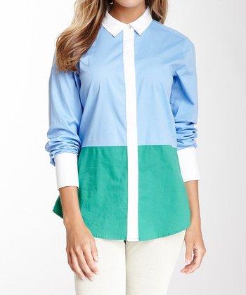 Blue & Jade Long-Sleeve Button-Up