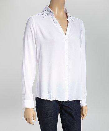 White Stud V-Neck Button-Up