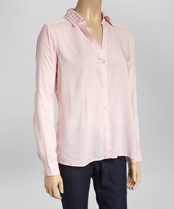 Pink Stud V-Neck Button-Up