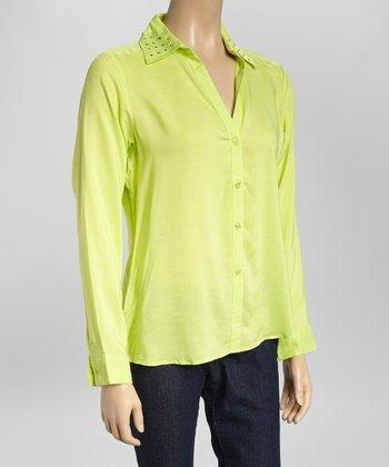 Lime Stud V-Neck Button-Up