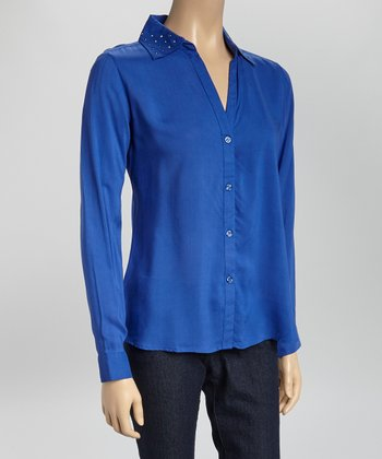 Periwinkle Stud V-Neck Button-Up