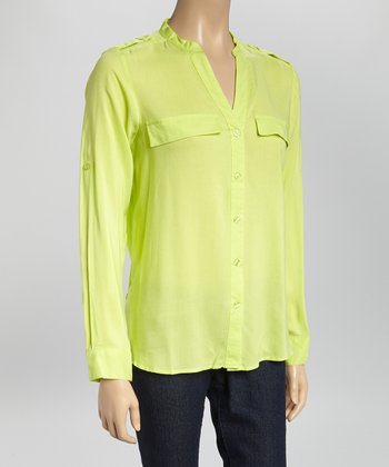 Lime Epaulet V-Neck Button-Up
