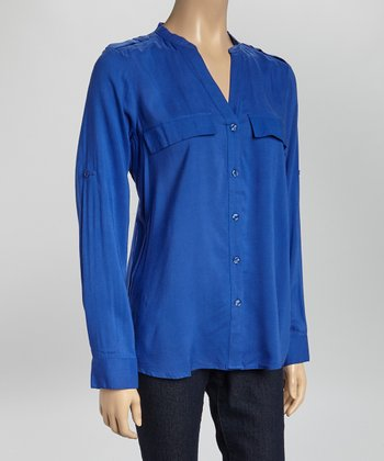 Periwinkle Epaulet V-Neck Button-Up