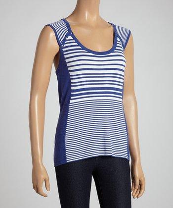 Electric Blue & White Stripe Sleeveless Top