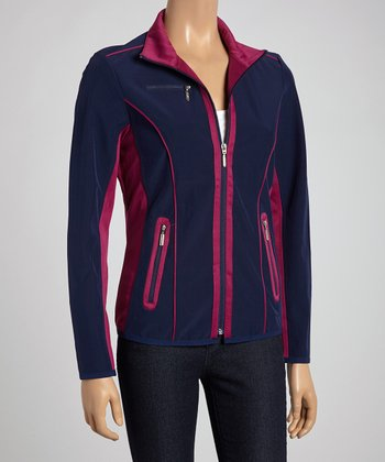 Fuchsia & Blue Color Block Zip-Up Jacket