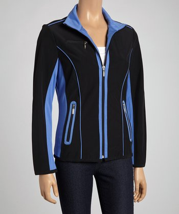 Blue & Black Color Block Zip-Up Jacket