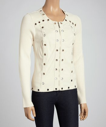 Almond Eyelet Zip-Up Jacket