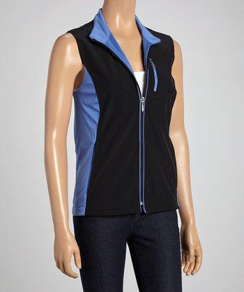 Blue & Black Color Block Zip-Up Vest