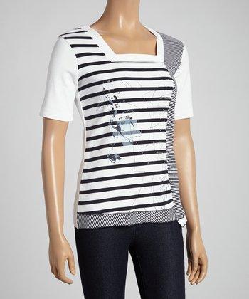 Black & White Stripe Square Neck Top