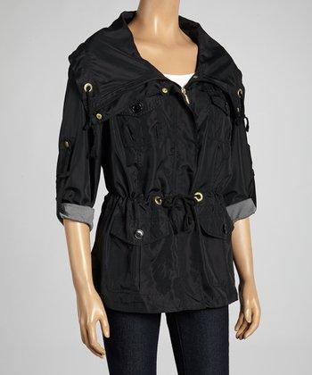 Joan Vass Black Drawstring Spring Jacket