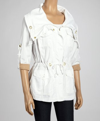 Joan Vass White Drawstring Spring Jacket