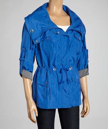 Joan Vass Blue Drawstring Spring Jacket