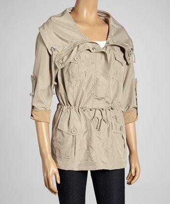 Joan Vass Taupe Drawstring Spring Jacket