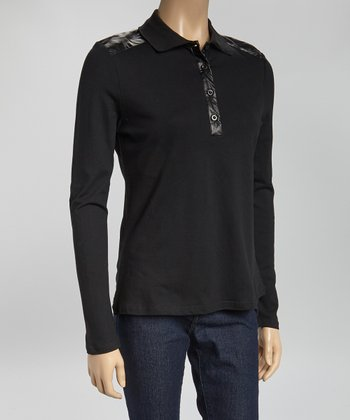 Black Pleather Long-Sleeve Polo