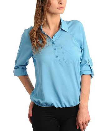 Light Blue Tab-Sleeve Button-Up Top