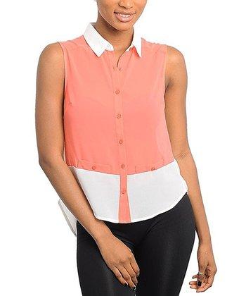 White & Orange Color Block Button-Up Top