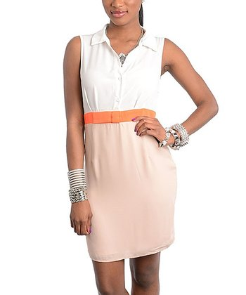 Ivory & Taupe Color Block Button-Up Dress