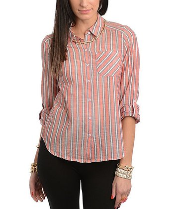 Coral & Navy Stripe Button-Up