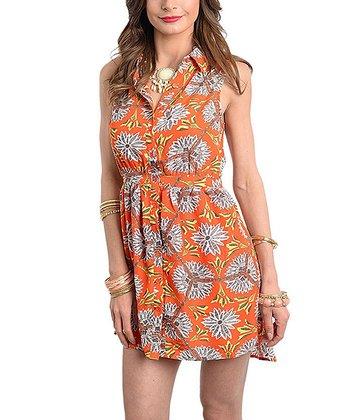 Orange & Yellow Floral Shirt Dress