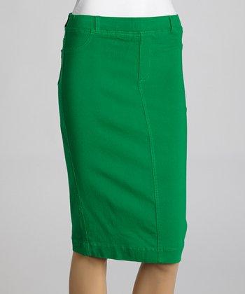 Kelly Green Jean-Top Pencil Skirt