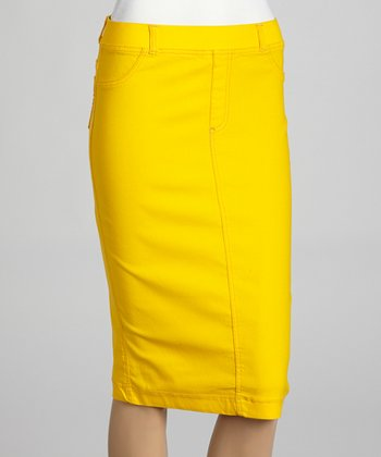 Yellow Jean-Top Pencil Skirt