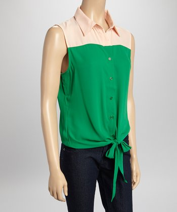 Green & Peach Sleeveless Button-Up