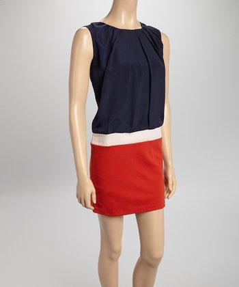 Navy & Red Zip-Back Blouson Dress
