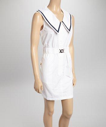 White Buckle Sleeveless Sailor Dress