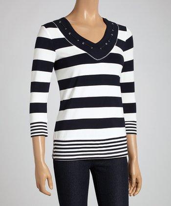 Stripe Navy & White Stripe Three-Quarter Sleeve Top