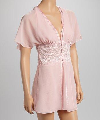 Dolce Vita Intimates Kiss Me Pink Halter Babydoll Set - Women