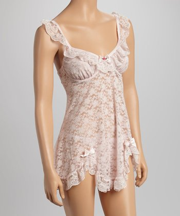 Dolce Vita Intimates Pretty in Pink Lace Ruffle Babydoll - Women