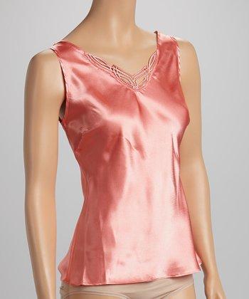 Dolce Vita Intimates Pink Coral Embroidered Satin Tank - Women & Plus