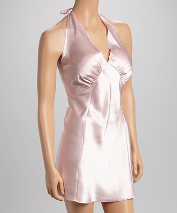 Dolce Vita Intimates Light Pink Satin Halter Chemise - Women & Plus
