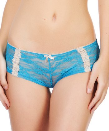 Aqua & Nude Floral Lace Hipster - Women