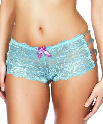 Blue & Pink Lace Side-Cutout Hipster - Plus